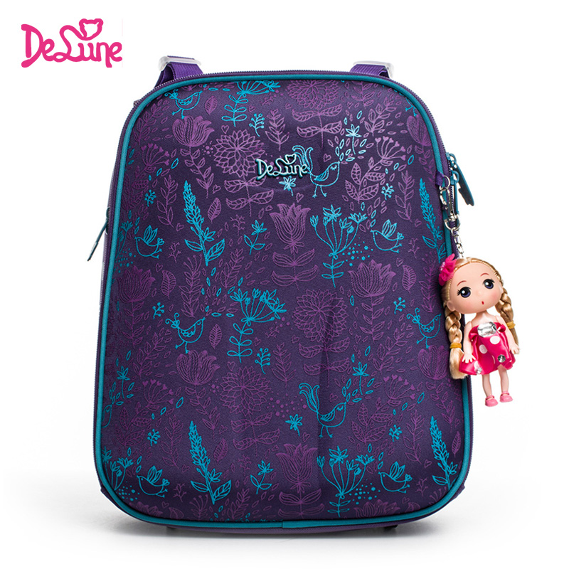 Delune Brand Girls School Bags Cartoon Character Kids Lavender Floral Orthopedic School Backpack Bag Boy Mochila Infantil Purple