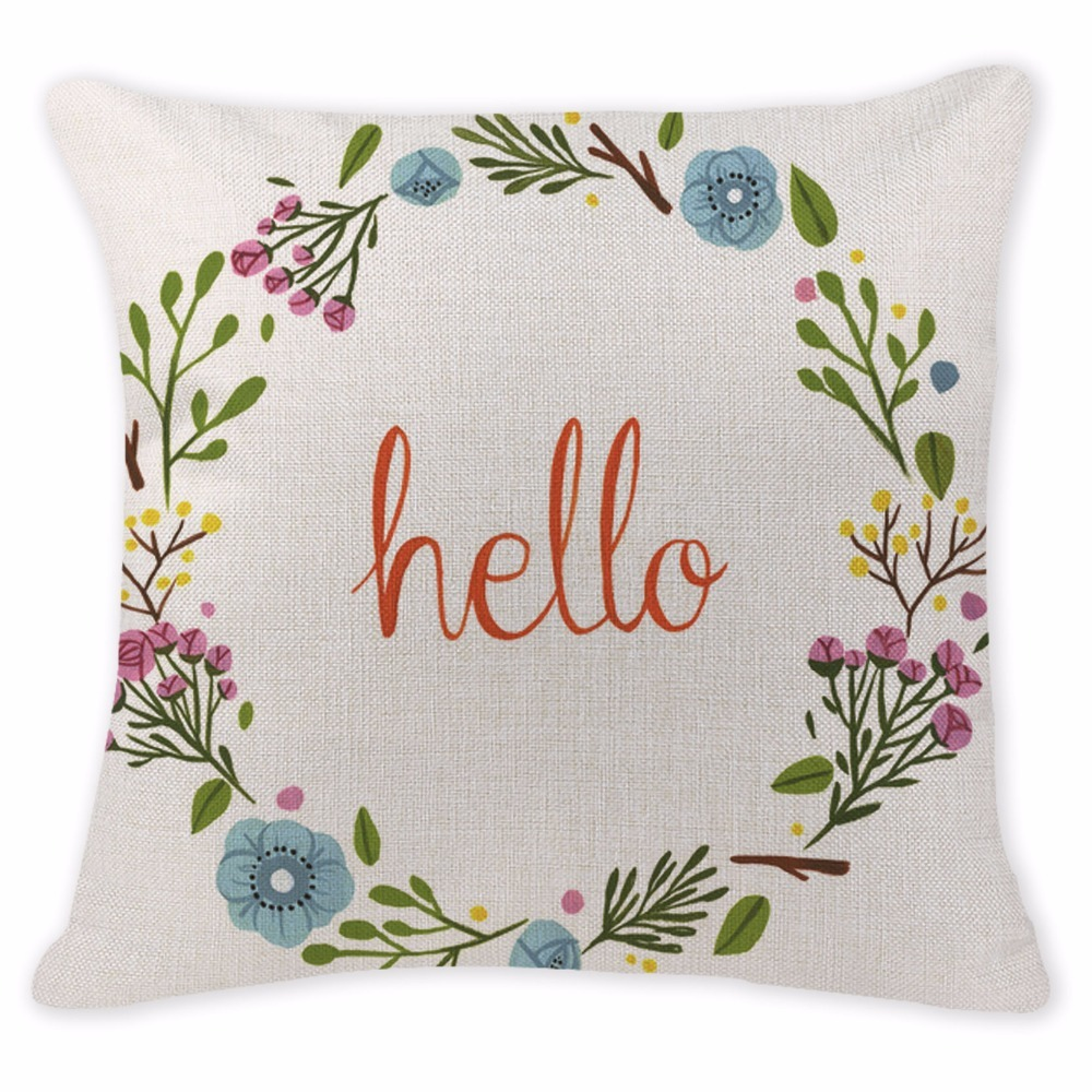Stylish Cushion Covers Garland Letter Tent Decorative Pillows For Sofa Chair Office 18 Cotton Linen Home Flowers Throw Pillow
