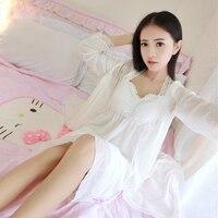 Summer Women Long White Nightgown Princess Slash neck Sleeping Dress Women Nightgowns Long Robe Vintage Sleepwear 2pcs Suit 48
