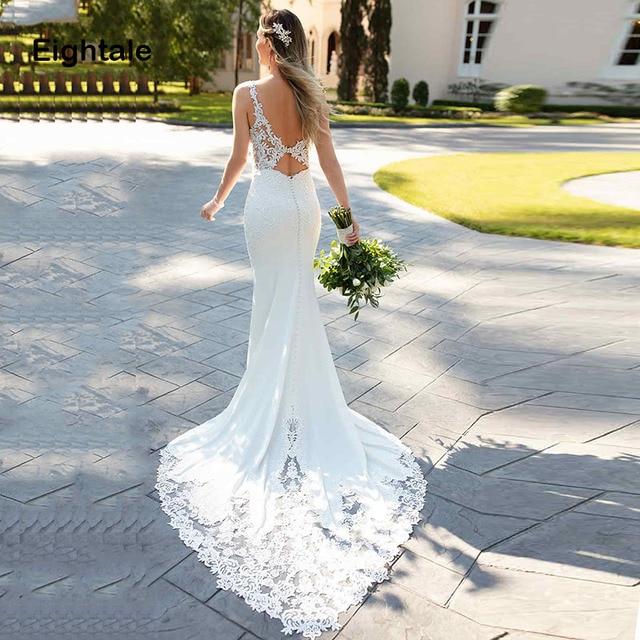 Eightale Mermaid Boho Wedding Dresses 2019 Sweetheart Appliques Lace Chiffon Wedding Gowns Backless Bride Dress vestido novia 3