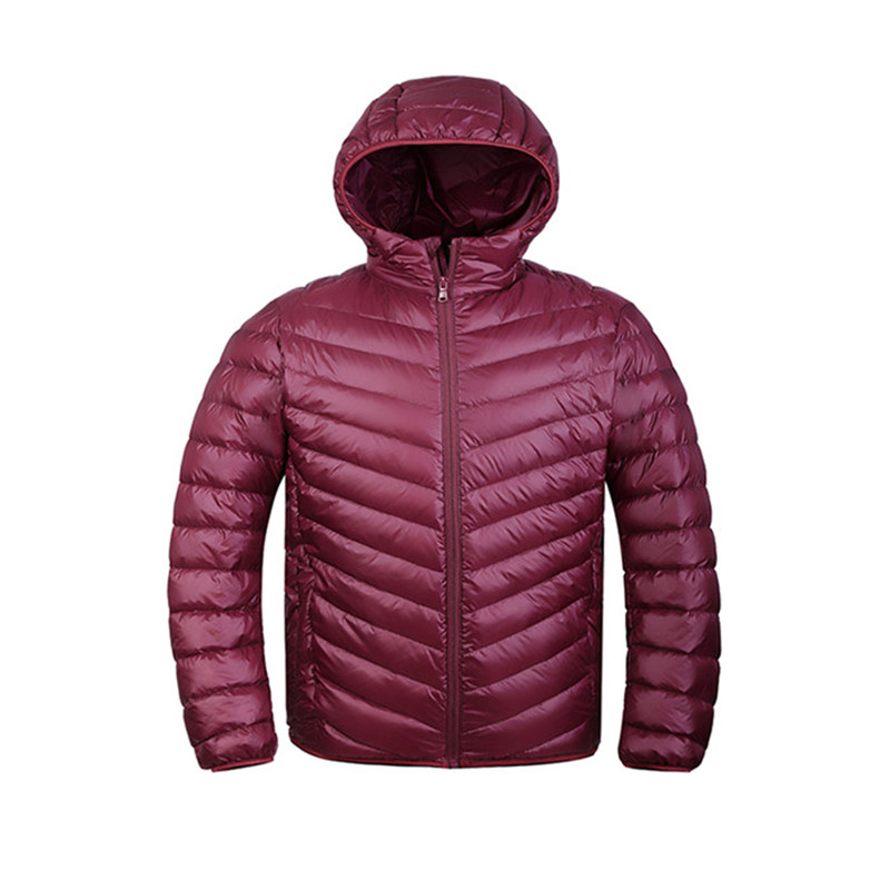 Autumn Winter Parka White Duck Down Hood Padded Quilted