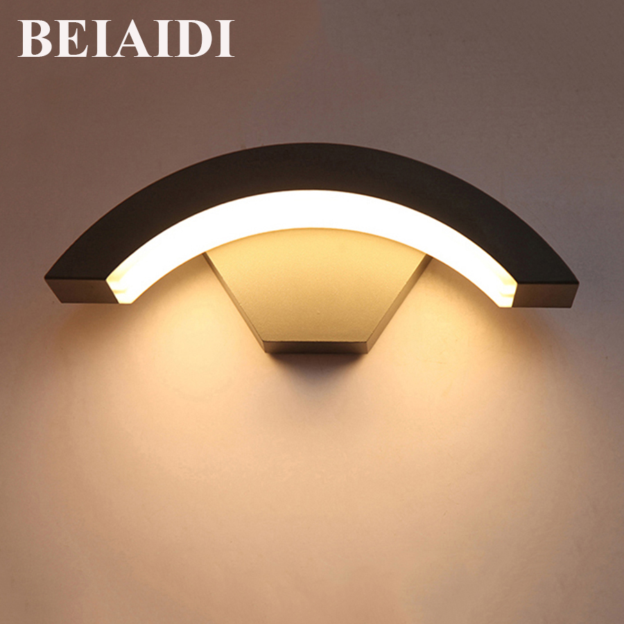 BEIAIDI 12W Waterproof Wall lamp With Sensor Outdoor Garden Porch Light Balcony Courtyard Hotel Villa Outside Lighting Fixture