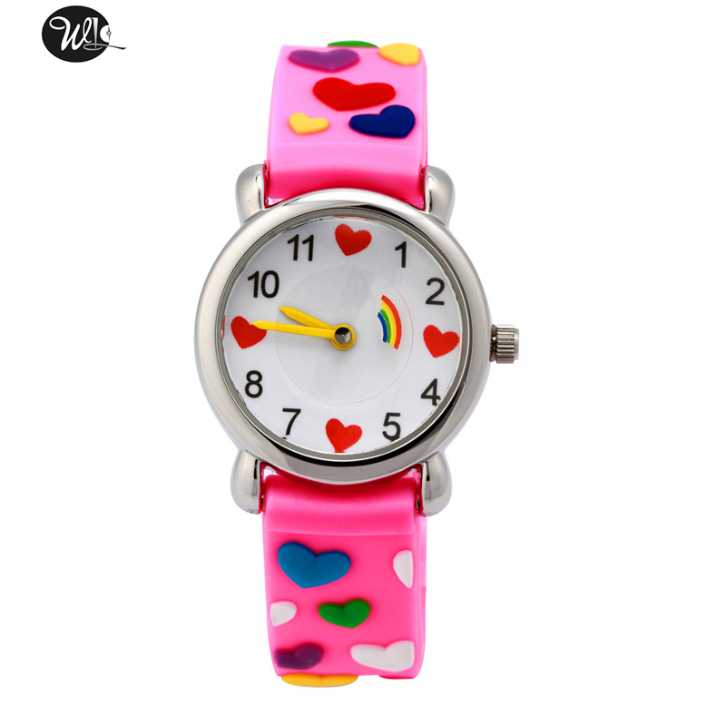 Children's Gift Watch Quartz 3D watch Strap Cartoon Pink Love Watch Pointer Fashion Electronic Waterproof Watch Children's Watch