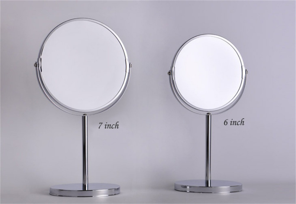6 / 7 inch dual Side metal Round Shape 360 degree Rotating Cosmetic Mirror, desktop makeup Bathroom 2X Magnifier Mirror 8 inch fashion high definition desktop makeup mirror 2 face metal bathroom mirror magnifying 360 degree rotating mirror