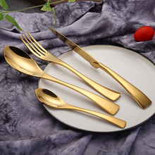 KuBac New 24Pcs/set Golden Dinnerware 304 Stainless Steel Dinner Steak Knife Fork Scoops Party Gold Cutlery Tableware Gift Set