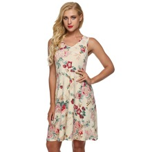 ACEVOG Brand 2017 Summer Vintage Dress Women Sexy 1950s 60s Lady Floral Print Robe Sleeveless Dresses Feminino Vestidos Mujer