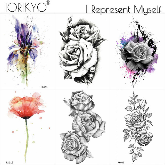 Small Black Rose Bracelet Lily Daisy Flower Tattoos Temporary For