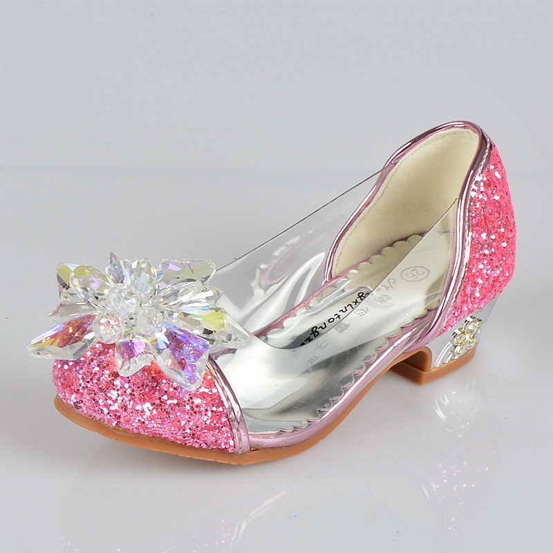 2019 New arrival girls children casual shoes princesss crystal high heels single shoes girl banquet shoes size 26 37