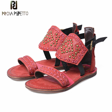 Prova Perfetto Fashion Women Genuine Leather Gladiator Sandals Rivets Studded Flat Shoes Woman Embroidery Casual Beach Flats