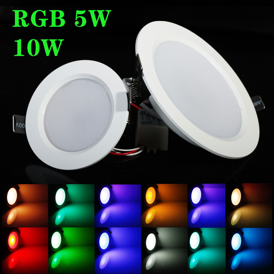 buy best rgb 5w 10w led ceiling panel light ac85 265v 24color downlight bulb. Black Bedroom Furniture Sets. Home Design Ideas