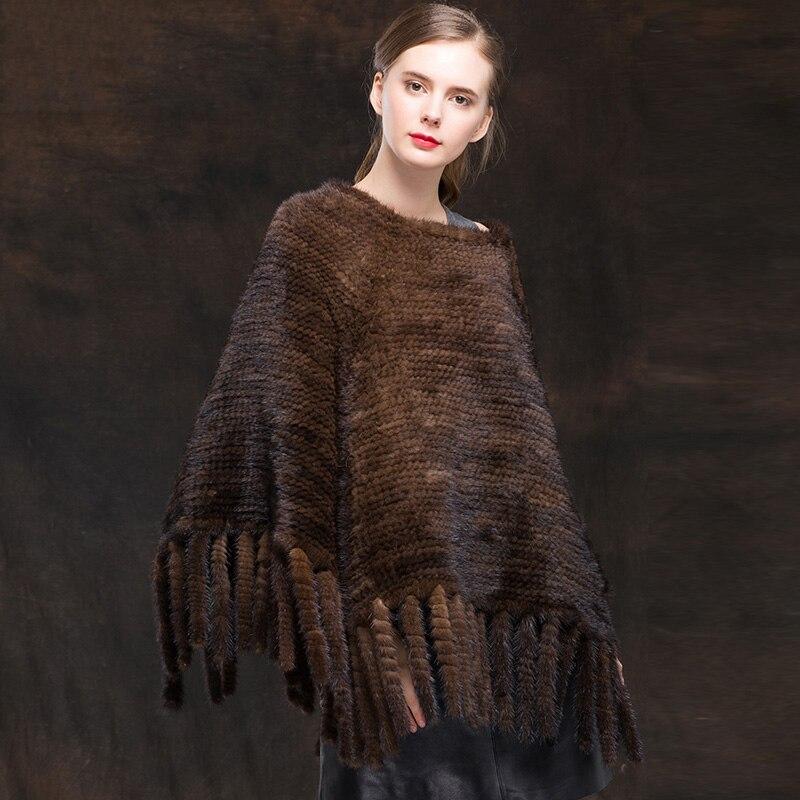 Châle Real Mode De Poncho noir 2018 Avec Qualité Vison Marron Gland Femmes Haute Manteaux Fourrure Naturel xqA4vw7X