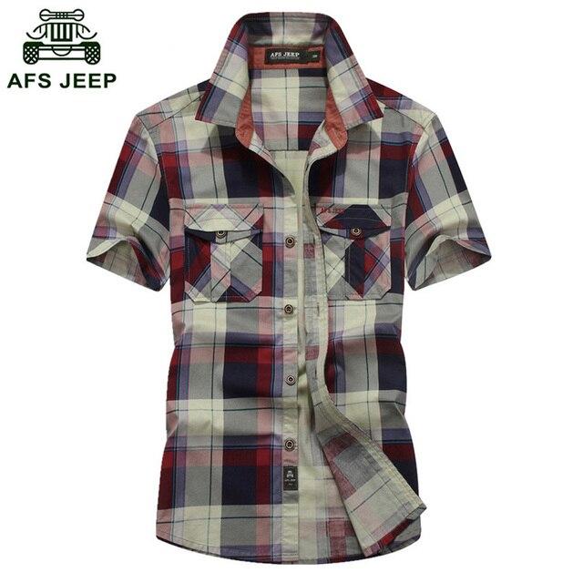 ed76c742c1c New Men Shirts AFS JEEP Brand Casual Cotton Shirt Short Sleeve Shirt Young  Man Loose Summer Plaid Plus Size Shirt D56