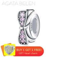 Nouveau bowknot 925 argent Sterling clair rose Zircon Silicone bouchon perles Fit Original Pandora bracelet à breloques fabrication de bijoux