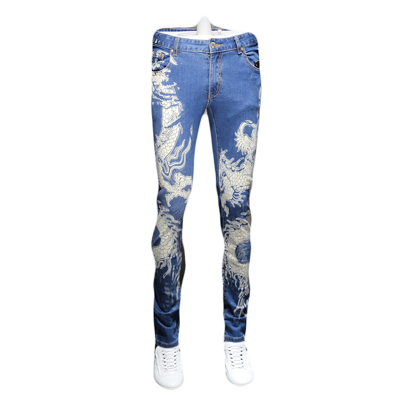 2018 New China Tradition Dragon Printing Stretch Jeans Men Personality Slim Fit Straight Casual Pants