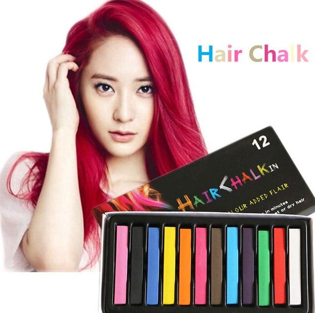2624445cd 4 Colores Lápices de Colores de Tinte Para Cabello Suave Pelo de Color Tiza  Temporal Rimel