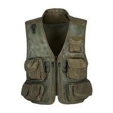 Vertvie Man Outdoor Fishing Vest Summer Hunting Vest Men's Outdoor Sports Multi-pocket Fish Jackets Camouflage Mesh Clothing