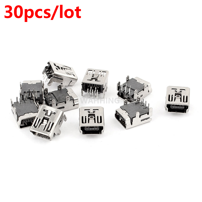 30pcs Mini USB 5Pin Female Connector Adapter For Computer Phone Mini USB Jack Connector 5 pin Charging Socket Plug HY1374