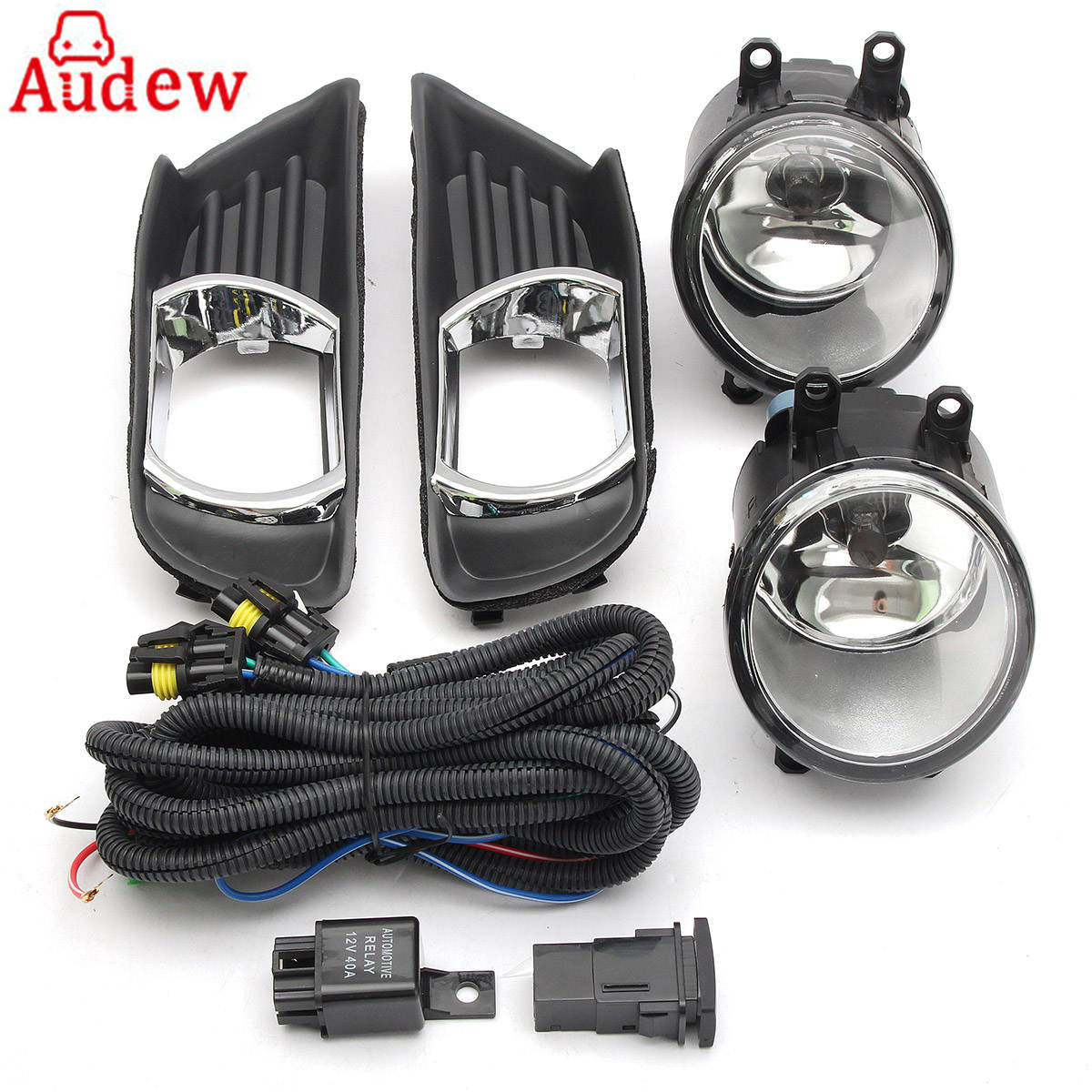 2Pcs Front Bumper Fog Lights Lamps DRL Driving Lights Fog Lamp Clear Lens Covers & Switch For Toyota/Camry 07-09