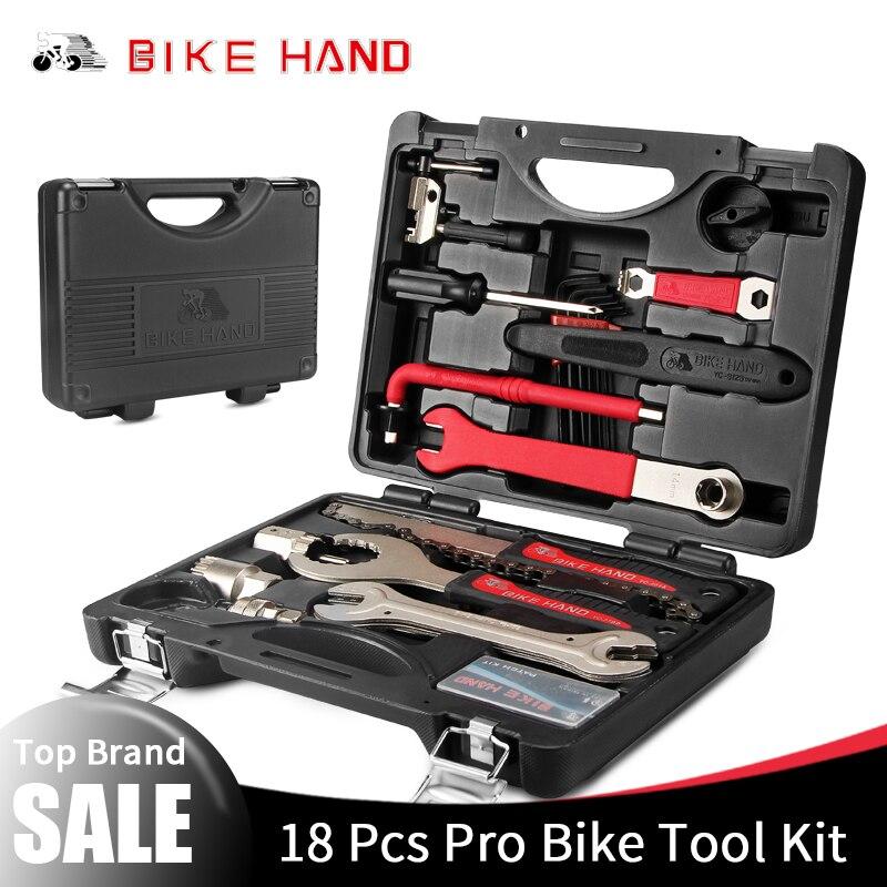 BIKEHAND 18 In 1 Multiful Fiets Gereedschap Kit Draagbare Fiets Reparatie Tool Box Set Inbussleutel Remover Crank Puller fietsen Gereedschap