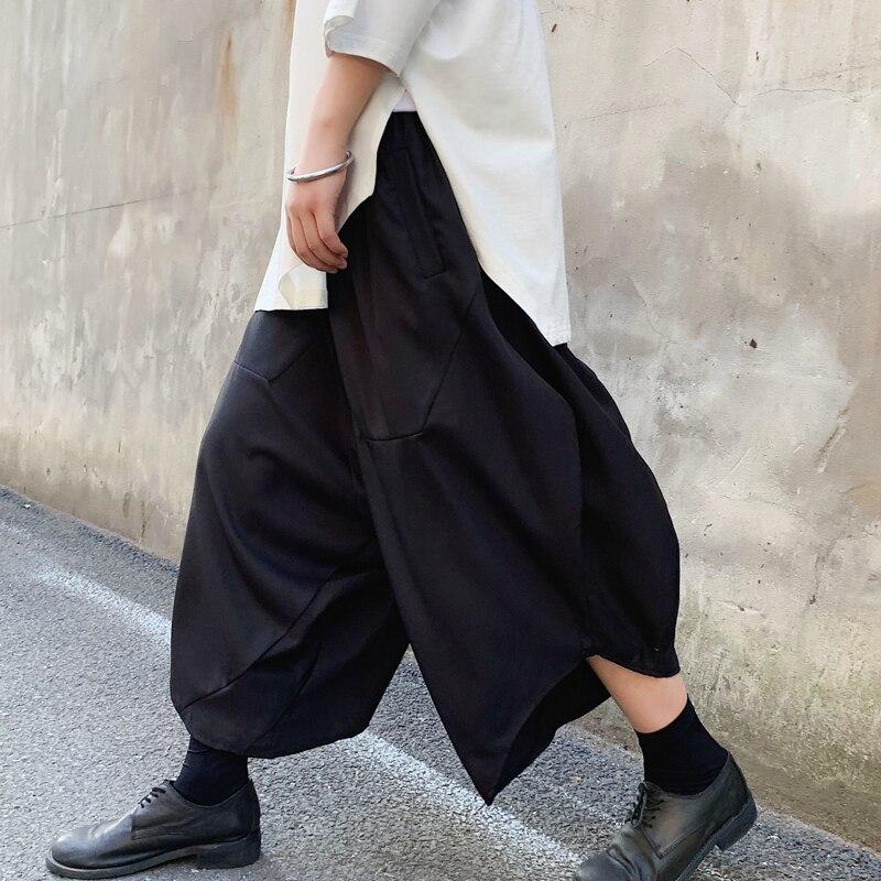 Men Fashion Wide Leg Pants Dark Black Loose Harem Pant Japan Streetwear Hip Hop Punk Casual Pant Male Skirts Trousers(China)