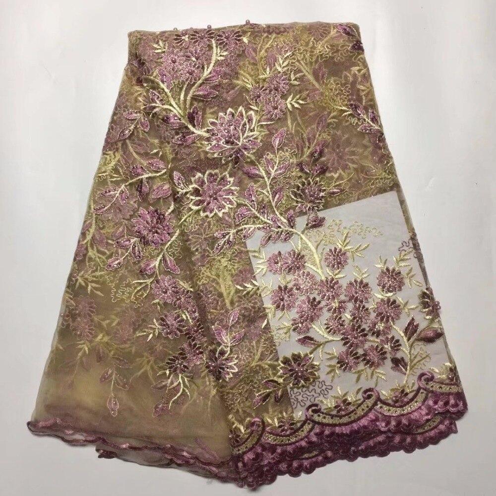 Tout nouveau exquis feuilles diamant Net broderie africaine dentelle tissu femmes vêtements français Voile dentelle