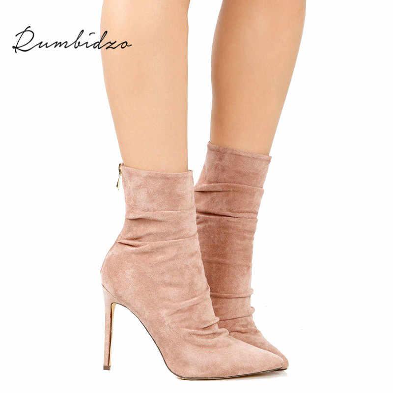 Rumbidzo Women Boots 2018 Thin Heel High Heels Shoes Woman Female Socks Boots  Ankle Boots Autumn eb0c699f7445