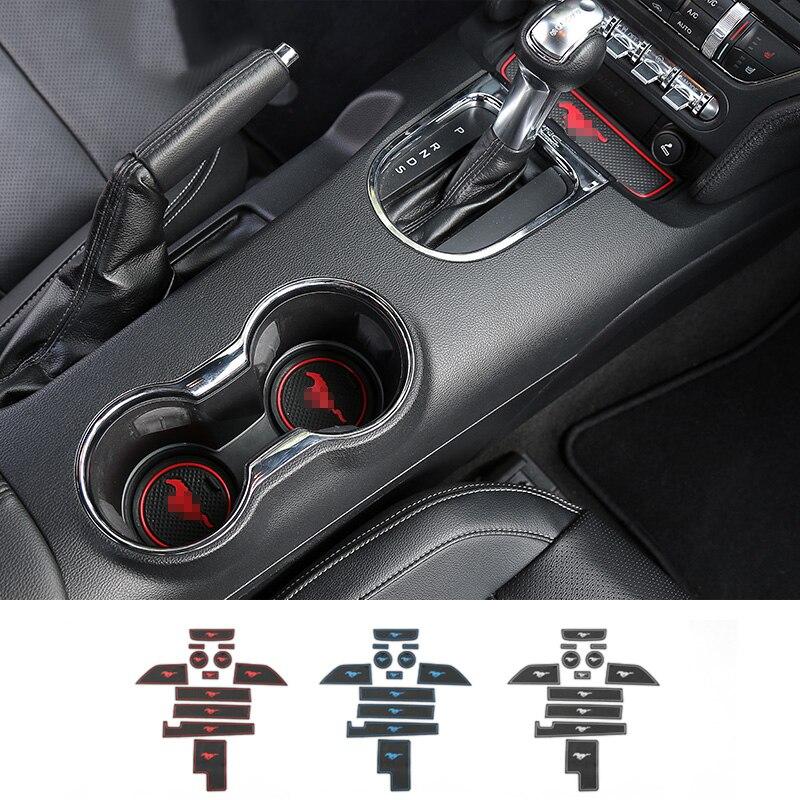 SHINEKA Nouveau Anti-Slip Porte Groove Mat Porte Fente Tapis De Voiture pour Ford Mustang 2015 2016 2017 Intérieur Accessoires