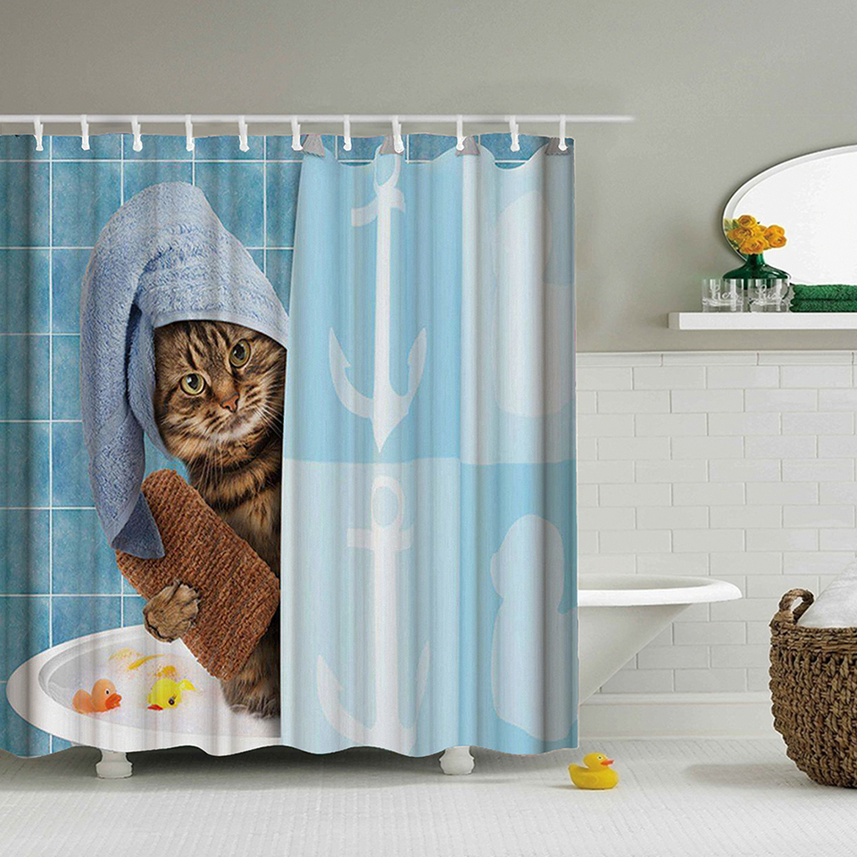 Lovely Cat Printing Shower Curtain
