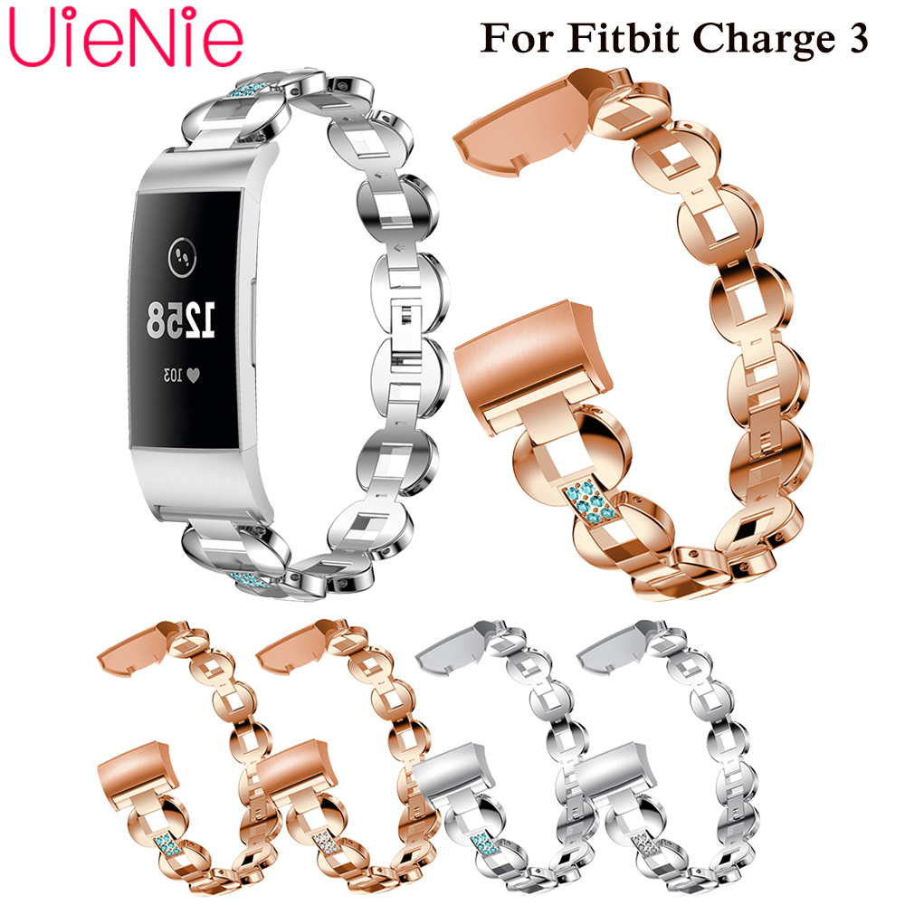Aluminium Alloy band For Fitbit Charge 3 frontier/classic Inlaid rhinestone strap smart watch wristband