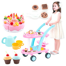 Trolley Cart Toy Birthday Party Cake Pusher Car Pretend Play Set For Boys Pretend Play Early Educational Children Toys-Pink Blue(China)