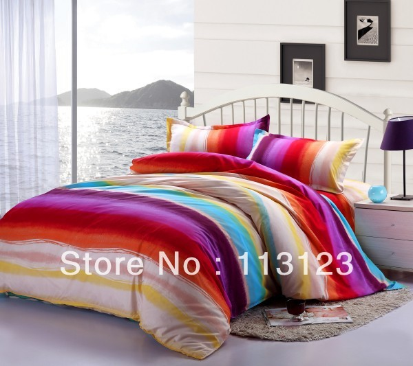 free shipping fashion rainbow microfiber fabric Queen bedding sets printed comforter covers bedding set 4 pcs with sheets bed