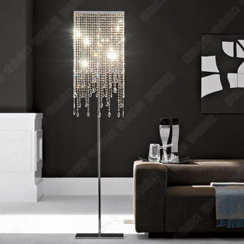 Hotel Floor Candelabra Rectangular Led Crystal Floor Lamps