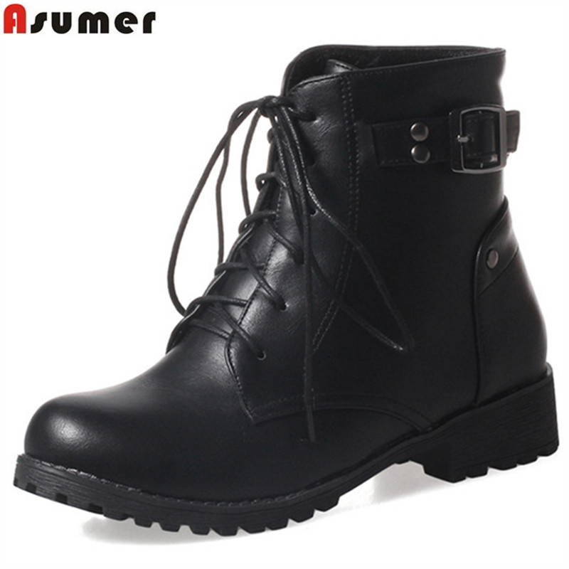 ASUMER fashion new arrive women boots round toe lace up ankle boots high quality pu buckle autumn winter boots big size 34-43ASUMER fashion new arrive women boots round toe lace up ankle boots high quality pu buckle autumn winter boots big size 34-43