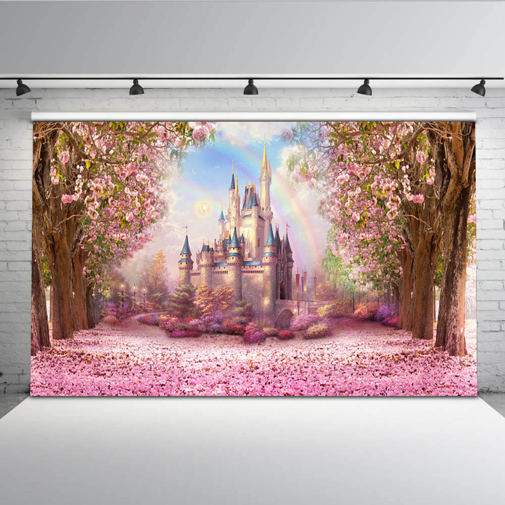 Cherry Pink Flowers Spring Photography Backdrop Rainbow Fairy tale Castle baby shower Children Princess Photo Background S 2711-in Background from Consumer Electronics