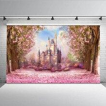 Cherry Rosa Fiori di Primavera Fotografia Sfondo Arcobaleno Fairy tale Castle baby shower Della Principessa Dei Bambini Sfondo