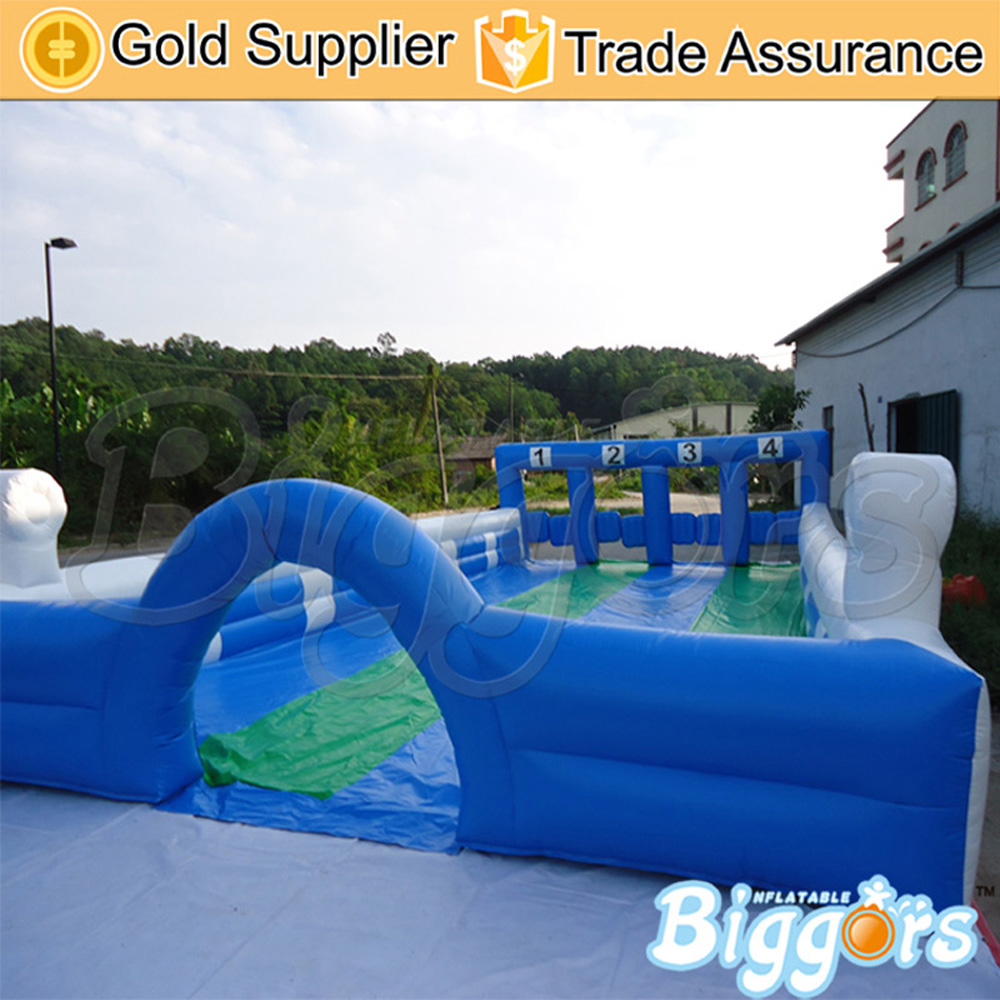 Factory direct PVC inflatable sports soccer field with sea shipping commercial sea inflatable blue water slide with pool and arch for kids