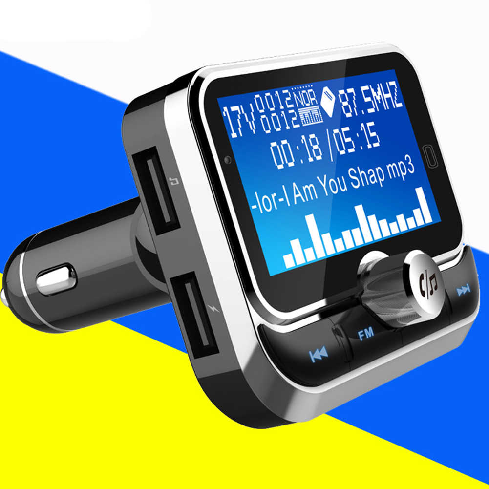 "MP3 Player Radio Adaptor Perak Stereo Bluetooth Elektronik 1.8 ""LCD Display FM Transmitter AUX Input Aksesoris Mobil Kit"