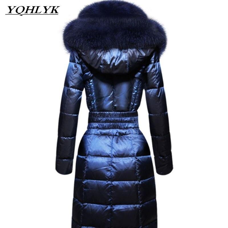 2018 nouveau haut de gamme Européenne et Américaine fox grand col de fourrure Mince femmes vers le bas veste hiver chaud épais coton tempérament long manteau