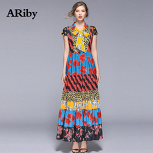Women Dress Maxi Party Summer Long 2019 New Lady Indie Folk Leopard Print Patchwork V-neck Sashes Slim A-Line Gothic