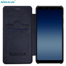 Nillkin Phone Bag Case for Samsung A8 2018 Case QIN Flip Leather Case for Samsung Galaxy A8+ Plus 2018 Cover with Card Pocket