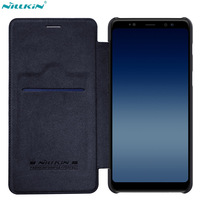 Nillkin Phone Bag Case For Samsung A8 2018 Case QIN Flip Leather Case For Samsung Galaxy