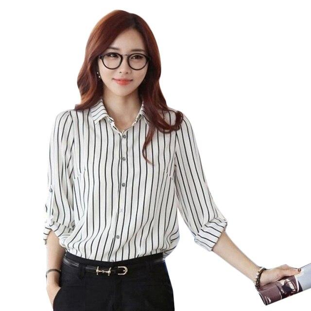 cc4126f1372e81d Модная Новая женская блузка OL женская с длинным рукавом белая черная  полосатая блузка женская тонкая рубашка