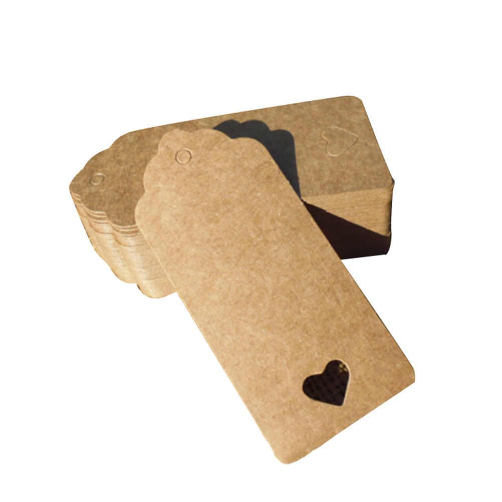 100 Pcs/lot Tas Nama Label Kraft Kertas Tag Favor 9X4 Cm Coklat Putih Renda Cinta Persegi Panjang Hati Berongga pesta Pernikahan Hadiah