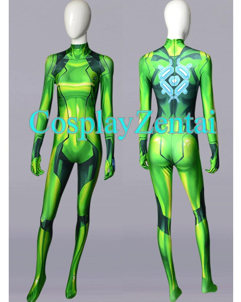 2018 Green Samus Zero Cosplay Costume Spandex 3D Printing Bodysuit for Female/Lady/Girl