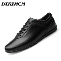 DXKZMCM Brand Genuine Leather Men Casual Shoes Fashion Style Leather Men Shoes Designer For Men