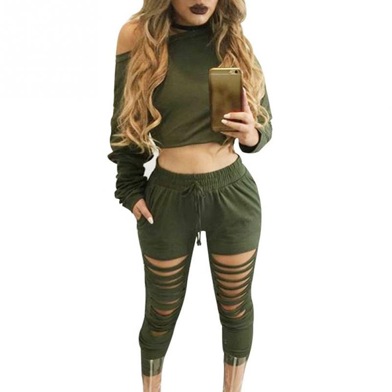 Women Sexy Two Piece Set Tracksuit Top And hole Pants Ladies Casual off shoulder blouse Suits Sweatsuits For Women Spring Autumn 2