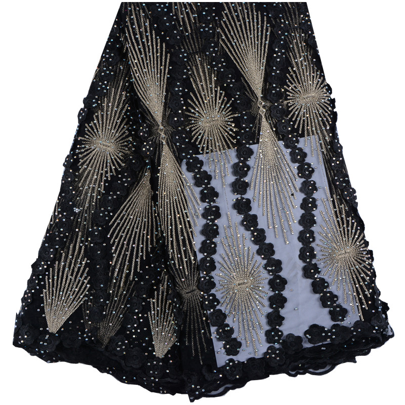 Latest African Tulle Lace 2018 French Net Stones Lace Fabric For Wedding Black Gold Embroidery African