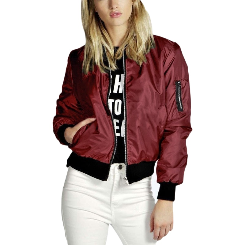 Spring Autumn Women Thin   Jackets   Tops   Basic   Bomber   Jacket   Long Sleeve Coat Casual O-neck Collar Slim Fit Outerwear