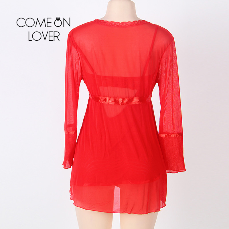 Comeonlover Wholesale Sexy Plus Size Lingerie Femme Porno High Quality Soft Nightgown Top +G string+Coat Sexy Pajamas RI80185 5