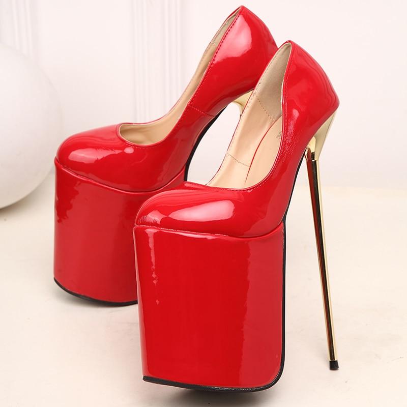 ФОТО Womens Pumps Ultra Thin Metal Heel Pump Sexy Red Bottom High Heels Fashion  Women Platform High Heel Extreme High Heels